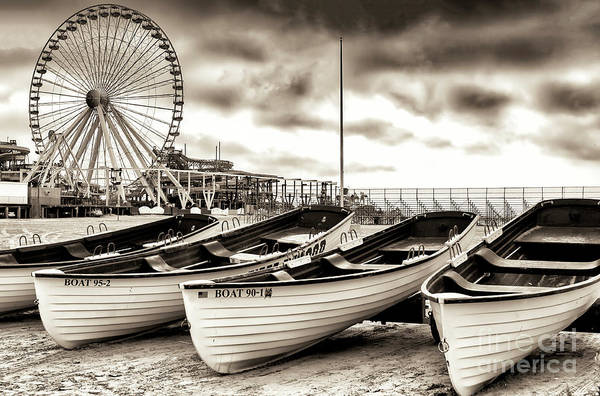 Down The Shore Photograph - Lifeguard Boats At Wildwood New Jersey by John Rizzuto