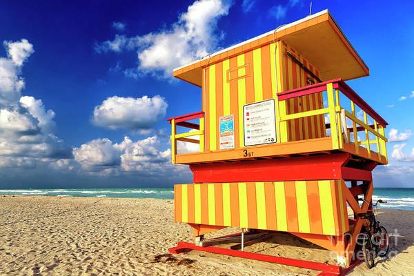 Photograph - Lifeguard Chair At South Beach by John Rizzuto