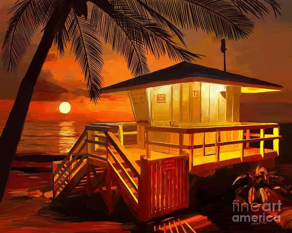 Andrew Jackson Wall Art - Painting - Lifeguard Shack In Maui Hawaii  by Andrew Jackson