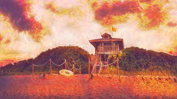Wall Art - Photograph - Lifeguard Stand At The Beach Vintage Postcard by Debra and Dave Vanderlaan