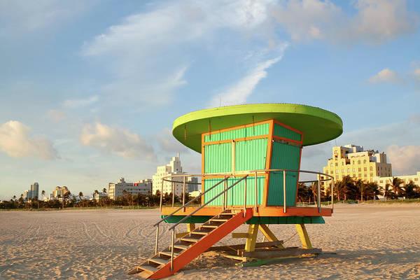 Dawn Photograph - Lifeguard Station At Dawn, South Beach by Travelif