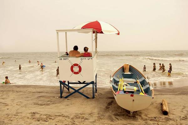 Crowd Photograph - Lifeguard Tower On A Beach, Atlantic by David Aschkenas