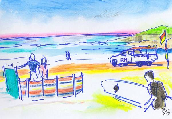 Drawing - Lifeguards And Surfer At Fistral Beach Coloured Pencils by Mike Jory