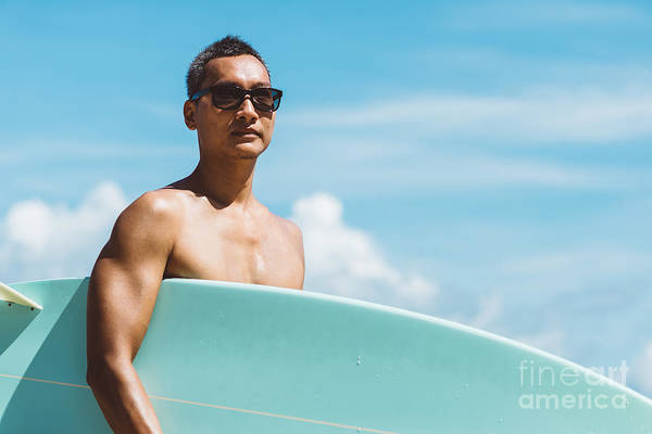 Stand Wall Art - Photograph - Lifestyle Series  Asian Man Holding by Bhakpong