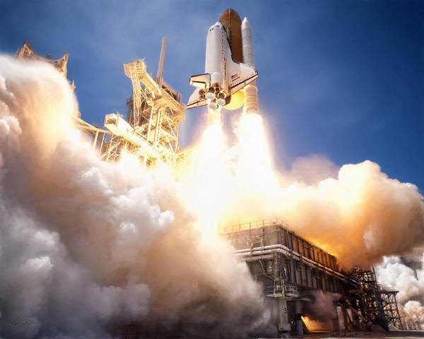 Space Exploration Digital Art - Lift Off Atlantis by Peter Chilelli
