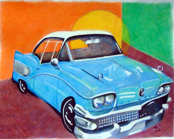 Drawing - Light Blue 1950s Car  by Loretta Nash