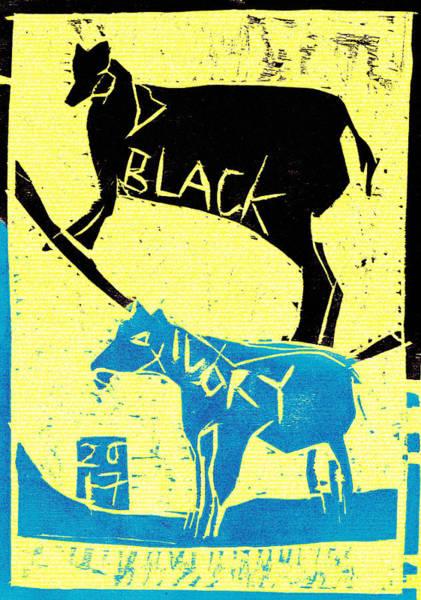Digital Art - Light Blue Animal Black Ivory Woodcut Poster 33 by Artist Dot