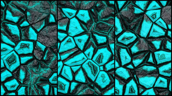 Digital Art - Light Blue Fantasy Stone Wall Triptych by Don Northup