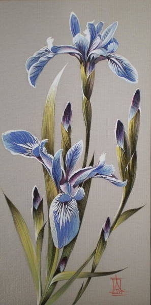 Painting - Light Blue Irises by Alina Oseeva