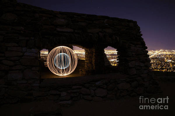 Wall Art - Photograph - Light Painted Sphere In Ruins by Anthony Restar