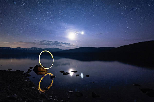 Photograph - Light Painting Lake Mcdonald by Jake Sorensen