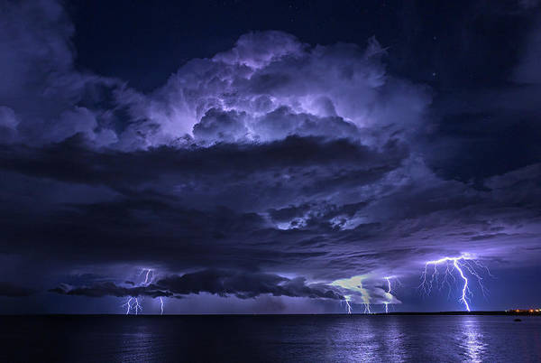 Night Photograph - Light Show At Cooke Point, Port Hedland by Simon Phelps Photography