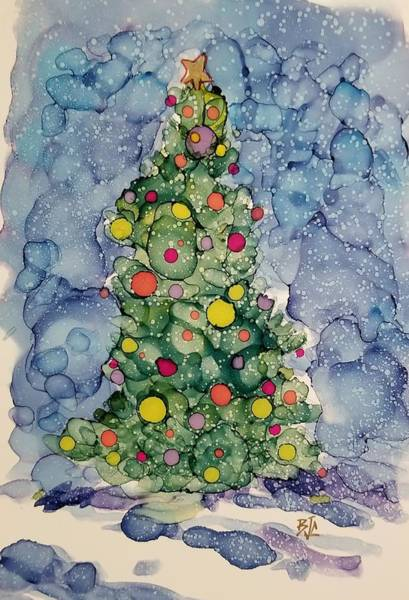 Wall Art - Painting - Light Snow On Christmas by Billie Colson
