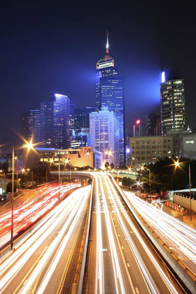 Chinese Culture Photograph - Light Trails On Road by From John Chan, Johnblog.phychembio.com