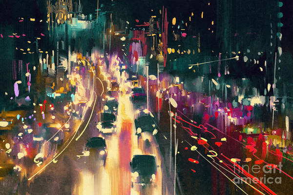 Scenery Digital Art - Light Trails On The Street At by Tithi Luadthong