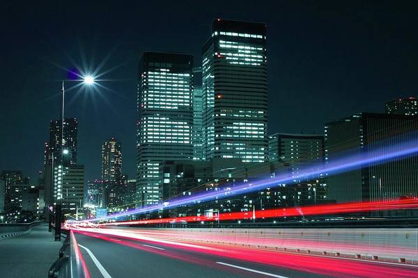 Light Trails On The Street In Tokyo Art Print