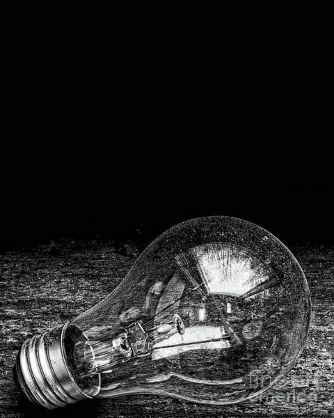 Photograph - Lightbulb Black And White by Edward Fielding