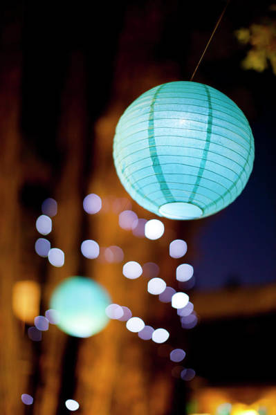 Chinese New Year Photograph - Lighted Paper Lantern At Night by Jasondoiy