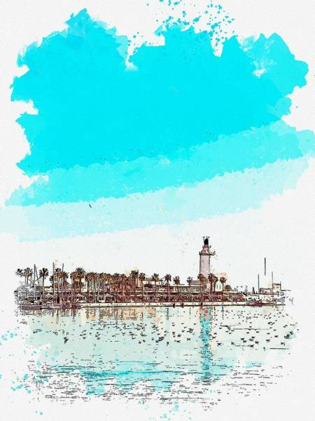 Wall Art - Painting - lighthouse 9, watercolor by Adam Asar by Adam Asar