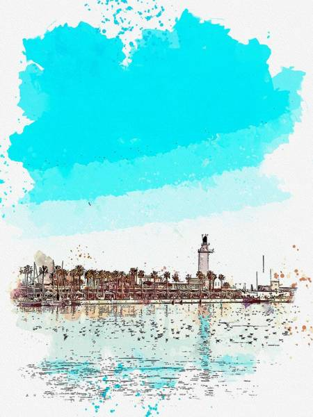 Wall Art - Painting - lighthouse 9 watercolor by Ahmet Asar by Ahmet Asar