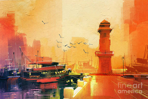 Wall Art - Digital Art - Lighthouse And Fishing Boat At by Tithi Luadthong