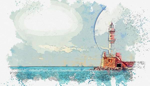 Wall Art - Painting - Lighthouse And Full Moon -  Watercolor By Ahmet Asar by Ahmet Asar