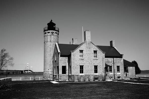 Photograph - Lighthouse And Mackinac Bridge Bw by Frank Romeo