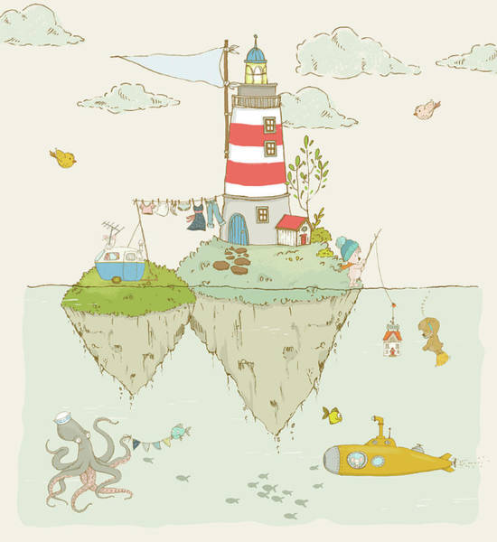 Painting - Lighthouse And Ocean And Cute Whimsical Animals by Matthias Hauser