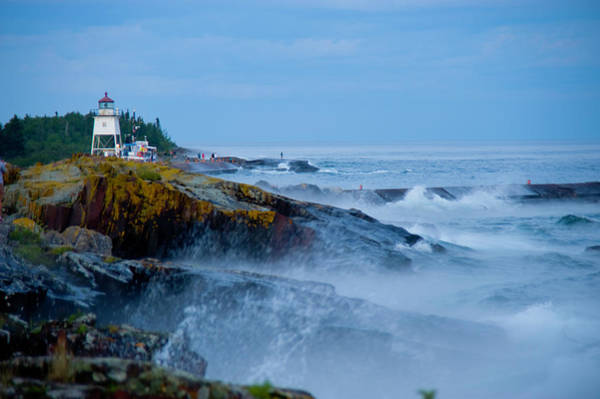Lake Superior Photograph - Lighthouse And Waves On Rocks, Grand by Donovan Reese