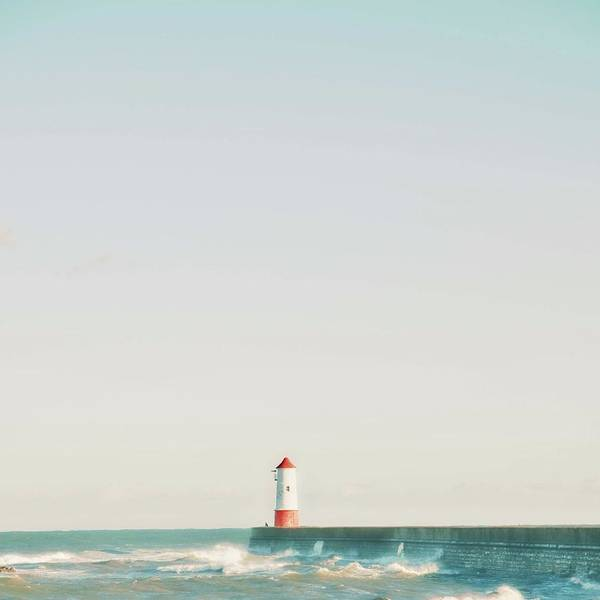 Berwick Upon Tweed Photograph - Lighthouse And Waves by Photos By Zoe