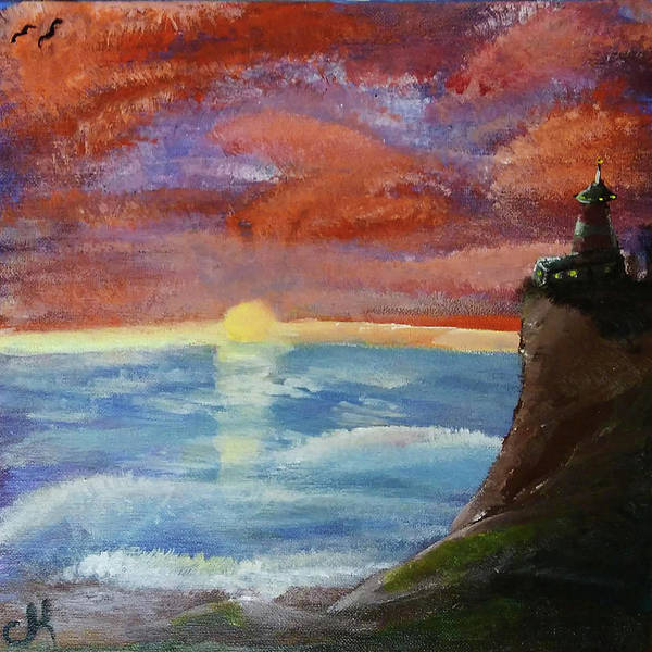 Painting - Lighthouse At Dawn by Chance Kafka