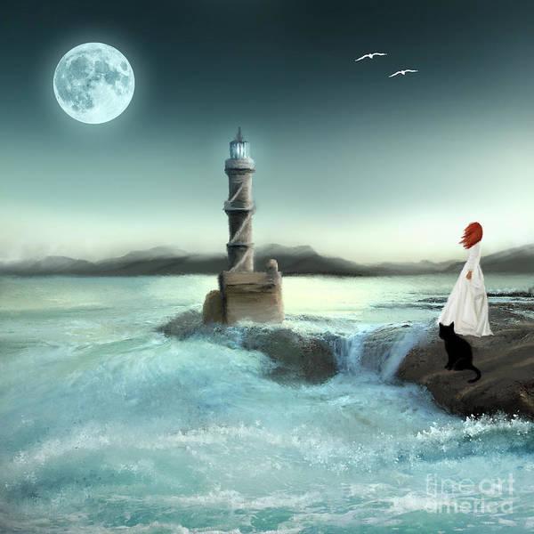 Digital Art - Lighthouse At Full Moon by Anne Vis