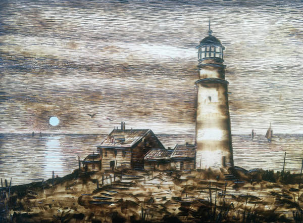 Pyrography Wall Art - Pyrography - Lighthouse At Sunset by Franco Puliti