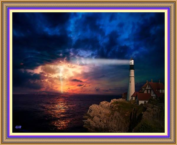 Wall Art - Digital Art - Lighthouse Beam Duskscape With Electrical Storm On The Horizon L A S - With Printed Frame. by Gert J Rheeders