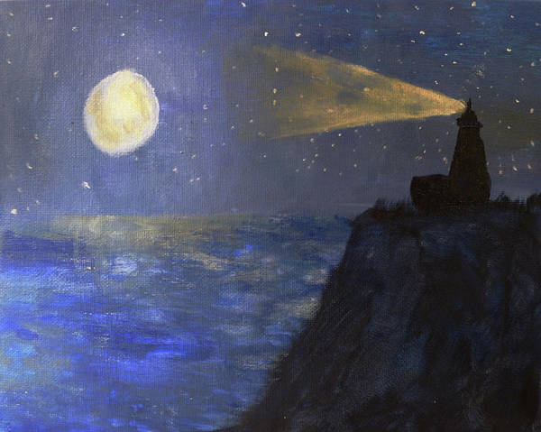 Painting - Lighthouse By Moonlight by Chance Kafka