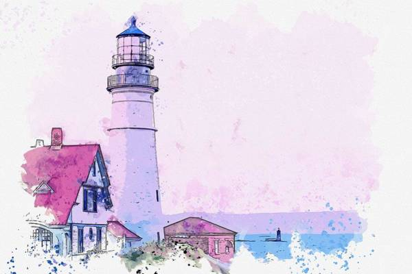 Wall Art - Painting - Lighthouse, Cape Elizabeth, United States -  Watercolor By Ahmet Asar by Ahmet Asar