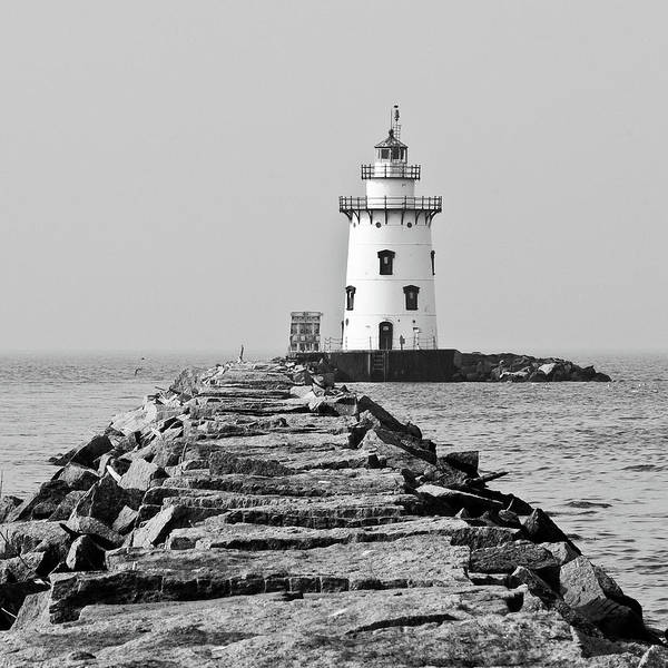 Protection Photograph - Lighthouse In Black And White by Maryann Flick