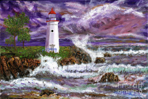 Wall Art - Painting - Lighthouse In Storm Painting by Timothy Hacker