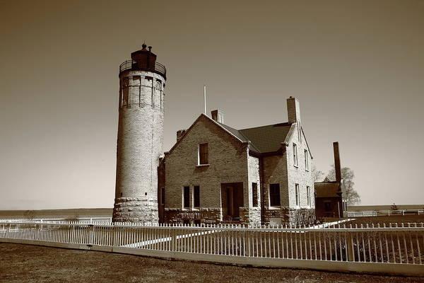Photograph - Lighthouse - Mackinac Point Michigan 2010 Bw by Frank Romeo