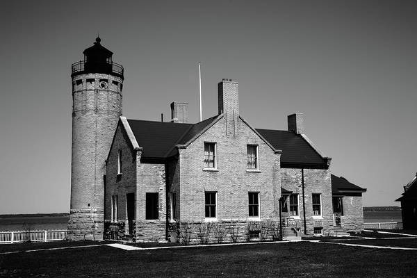 Photograph - Lighthouse - Mackinac Point Michigan 3 Bw by Frank Romeo