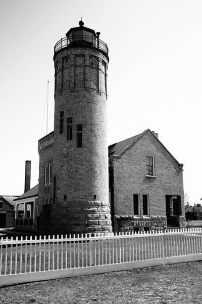Photograph - Lighthouse - Mackinac Point Michigan 4 Bw by Frank Romeo
