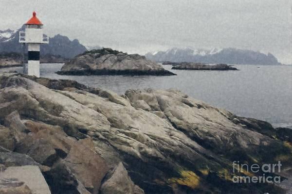 Photograph - Lighthouse On Rocks Near The Atlantic Coast, Digital Art Oil Pai by Joaquin Corbalan