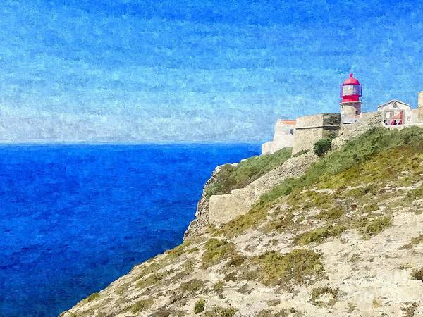 Lighthouse On Top Of A Cliff Overlooking The Blue Ocean On A Sunny Day, Painted In Oil On Canvas. Art Print