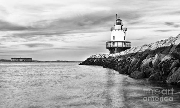 Wall Art - Photograph - Lighthouse On Top Of A Rocky Island In by Stuart Monk