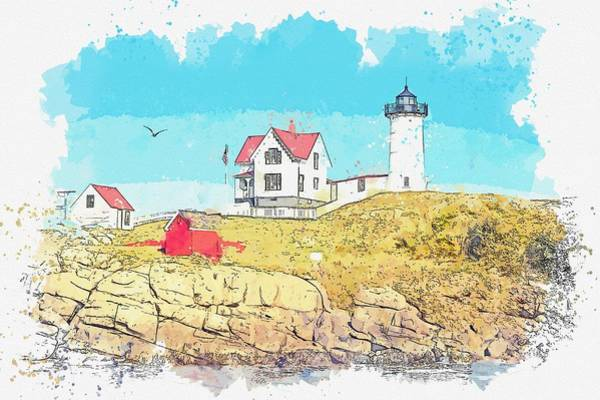 Wall Art - Painting - Lighthouse, Portland, United States -  Watercolor By Ahmet Asar by Ahmet Asar