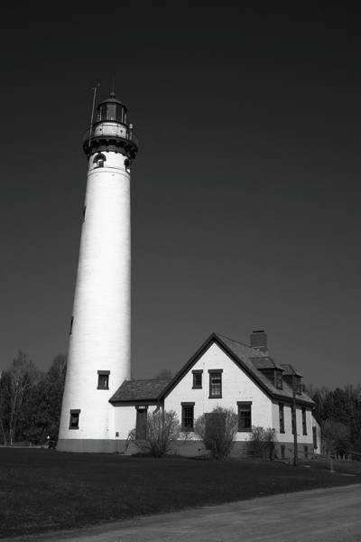 Photograph - Lighthouse - Presque Isle Michigan Bw by Frank Romeo