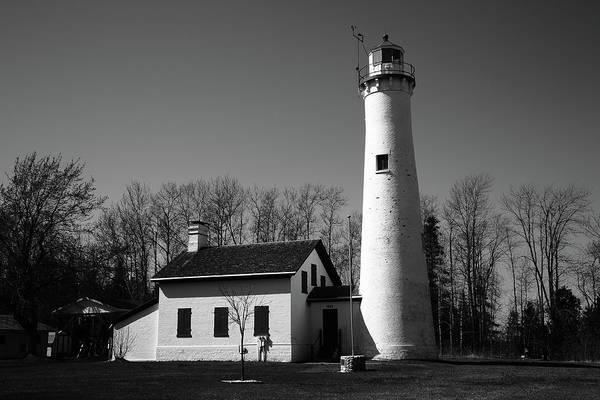 Photograph - Lighthouse - Sturgeon Point Michigan Bw by Frank Romeo