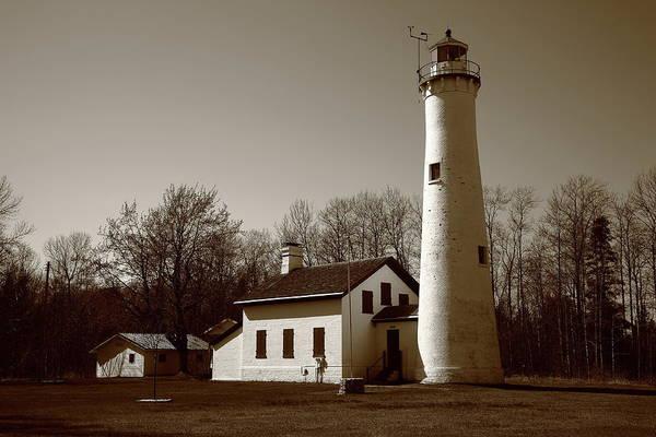 Photograph - Lighthouse - Sturgeon Point Michigan Sepia by Frank Romeo