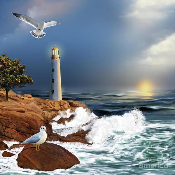 Digital Art - Lighthouse Sunset by Anne Vis