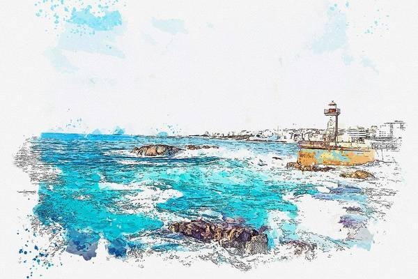 Wall Art - Painting - Lighthouse, Watercolor By Adam Asar by Adam Asar